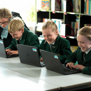 St Peter's Pupils making the most of their technology.
