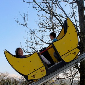 Children on a ride at a theme park