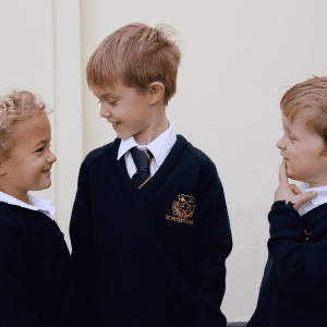 Pre-prep school children at St Peter's private school, Devon.