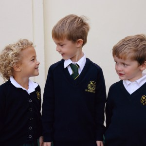 A group of children making friends at an independent primary school