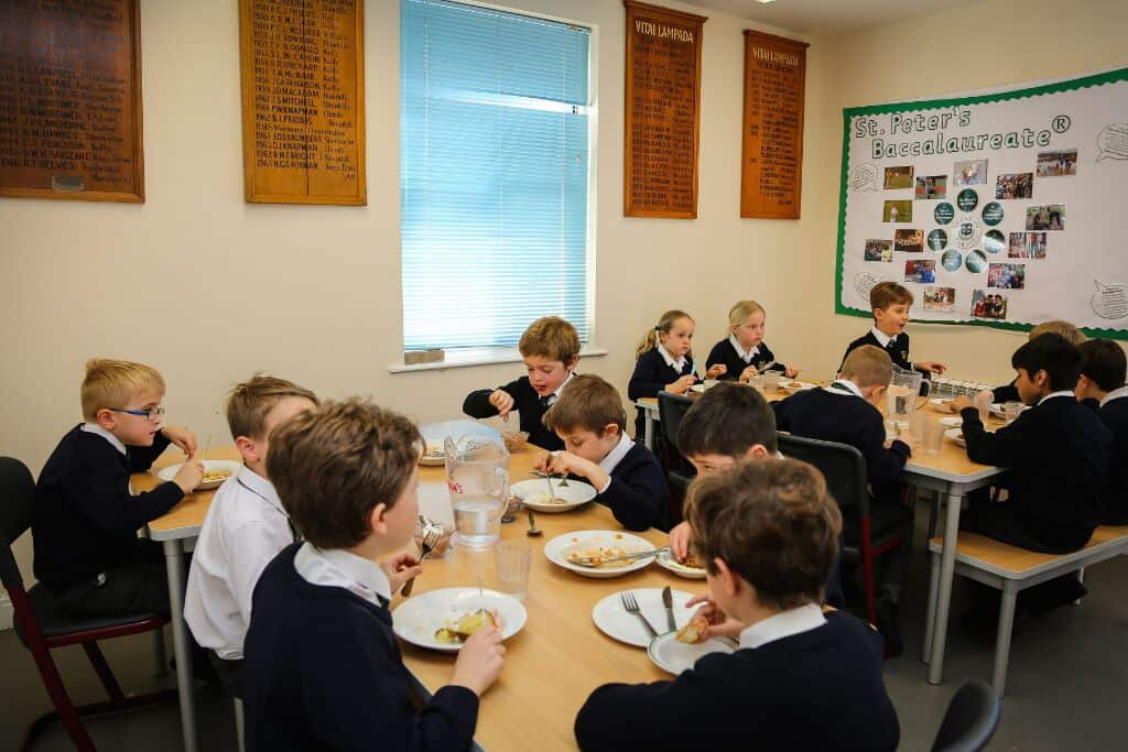 Pupils at St Peter's Prep eating