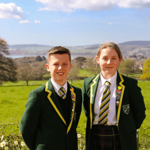 Two school children at a preparatory school in Devon