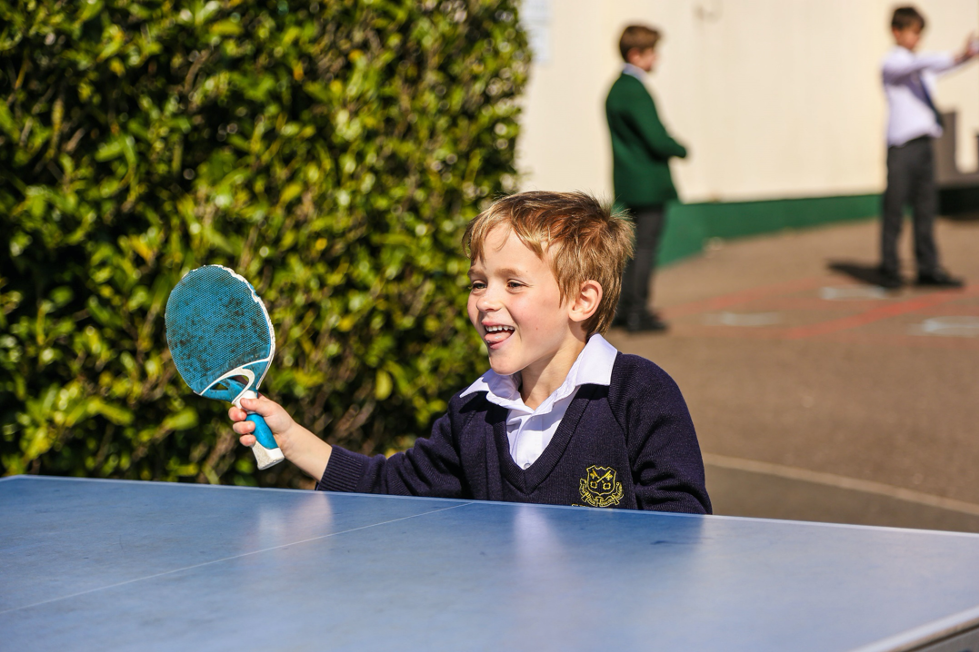 A St Peter's Prep pupil playing table tennis