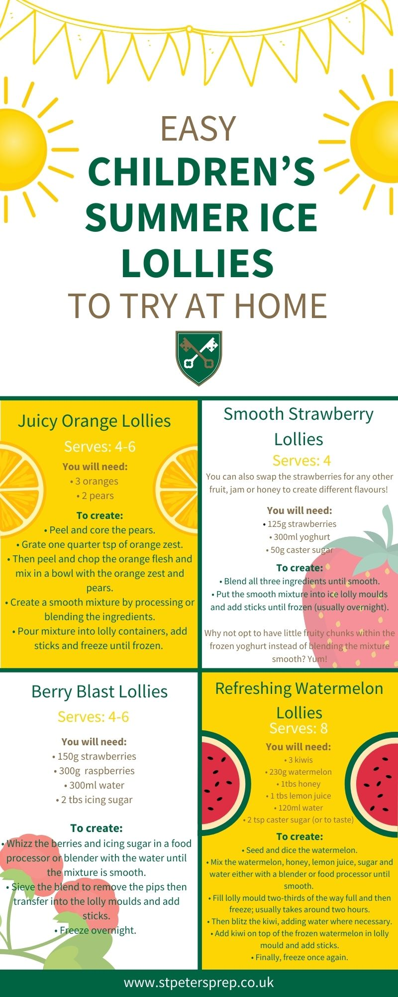 Easy Children's Summer Ice Lollies to Try at Home Infographic