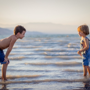 Two children on the beach